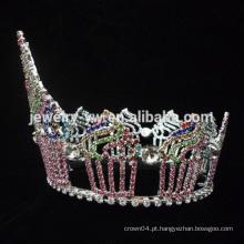 Beleza Rainha Coroa Tiaras forma bolo Rhinestone Grande aniversário Pageant Coroas