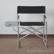 Folding aluminum director chair with plate