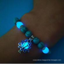 Hot Selling Trendy Charm Lotus Flower Pendant Glow in Dark Bead High Quality Turquoise Bracelet