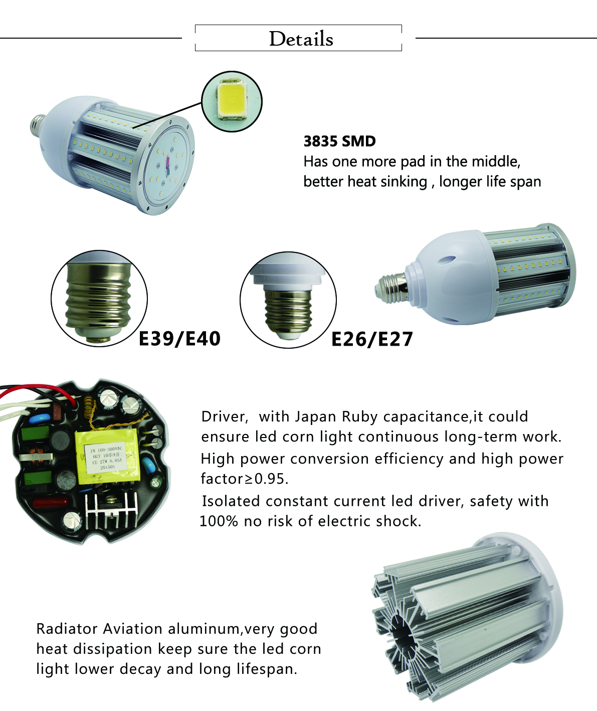 Dimmable 60w led corn bulb
