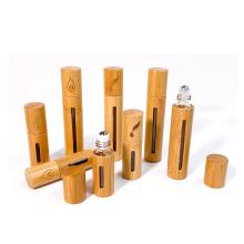 Wholesale custom bamboo roll on glass bottle 5ml 10ml  roller bottle with stainless roller