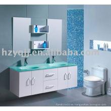 Diseño moderno de pared de vidrio de montaje superior doble lavabo muebles de baño