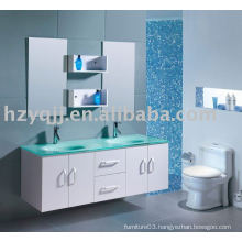 Modern Design Wall Mount Glass Top Double Sink Bathroom Furniture