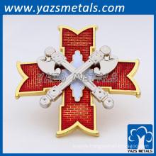 Custom red translucent texturing cross lapel pins