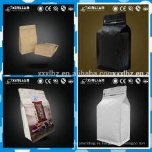 2016 hoja de papel kraft de venta caliente alineada bolsa de café de fondo cuadrado con válvula