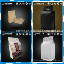 2016 hot sale kraft paper foil lined square bottom coffee bag with valve
