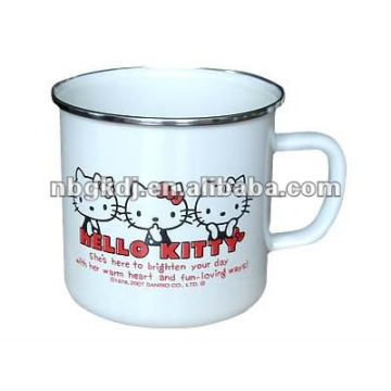 enamel milk cup with handle and lid