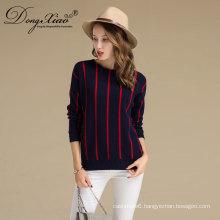 China Factory Womens Crew Neck Sweater Stripe Merino Wool Cashmere Sweater Design