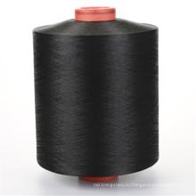 Трикотажная пряжа DTY черного цвета с низкой плотностью, окрашенная в допинге