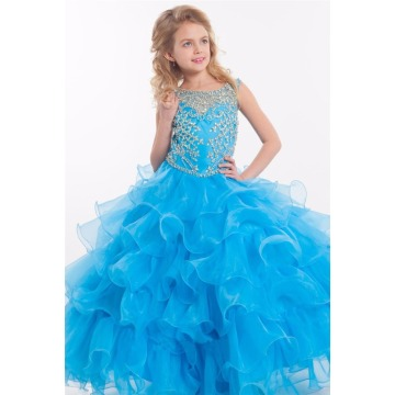 red pink Beaded orange red tiered ruffle custom-made ball gown junior girls pageant dresses LFG04