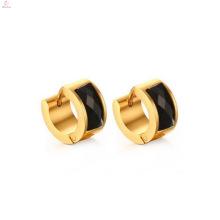 Boucle d'oreille en or noir plaqué or personnalisé en acier inoxydable