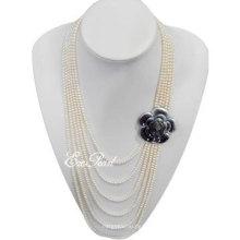 4mm 6strands Schicht-Art- und Weiseperlen-Halskette