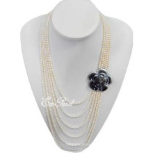 4mm 6strands Layer Fashion Pearl Necklace