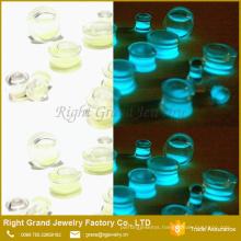 New Acrylic Glow In Dark Green Liquid Sand Ear Plugs Flesh Tunnel Gauge Piercing Body Jewelry