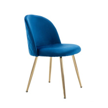 Foshan beauty round dining tables and chairs blue velvet brass metal legs for wedding