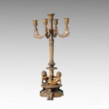 Estatua de titular de vela 2 Escultura de bronce de candelabro de los niños Tpch-057