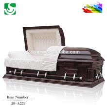 Vente en gros meilleures cercueils solide bois chêne haute brillance de laque