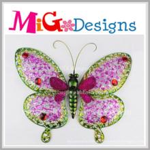 Удивительный металл розовая Бабочка стены декор для весны