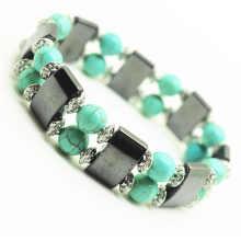 Perles rondes turquoise 8MM Stretch Gemstone space Bracelet avec alliage et hématite