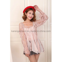 Women Chiffon Hollow Crochet Long Sleeve Beachdress