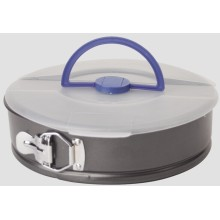 Spring form cake pan with carrying lid