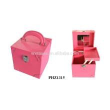 fashional & alta calidad PVC belleza maletín con espejo y una bandeja interior caliente vender
