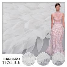 Feito para o bordado do vestido de casamento tela de malha branca da franja da borla