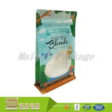 Kostenlose Probe Benutzerdefinierte Gedruckte Kunststoff Lebensmittelverpackungen Acht-Side Seal Side Gusset Square Bottom Ziplock Bag