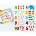 Cartoon animal puzzle number cognitive board wood toy