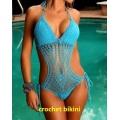 Sexy Crochet Terno de Natação One Piece Swimwear, Ladies Crochet Swimwear