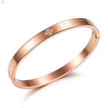 Cruz de cristal personalizado selo rosa de ouro de aço inoxidável amor pulseira