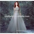 Grey Lace Elegant Floral Evening Party dress Evening Formal Dress