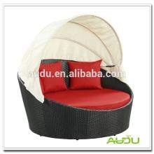 Audu Red Cushion EUA Música Wicker Round Rattan Daybed