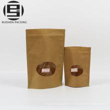 Bolsas de embalaje ziplock de papel Kraft con ventana