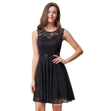 Grace Karin Women Sleeveless Crew Neck Floral Lace Flared A-Line Dress With Belt Black Casual Dress CL010422-1
