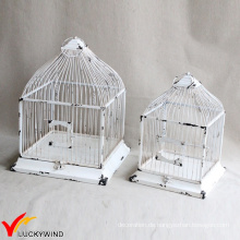 Set 2 Table Centerpiece Square Shabby Weiß Vintage Birdcage