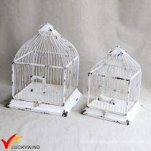 Set 2 Table Centerpiece Square Shabby White Vintage Birdcage