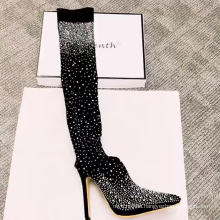 OEM Factory Rhinestone Over The Knee Thigh High Boots Sexy Women Stiletto Big Size Boots