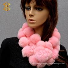 Pink Color Real Fur Scarf Rex Rabbit Fur Scarf with Pom Pom Ball