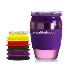 Einfacher fantastischer klarer Drinkware-Glas-Reise-Tee-Becher mit farbigem Silikon-Infuser