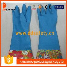 Gants de ménage de latex de ménage de latex bleu (DHL716)