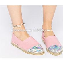 Pink girls shoe handmade straw braid canvas sneaker women espadrille jute sole