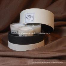 Luxo Aroma Glass Jar Vela Gift Set em caixa redonda