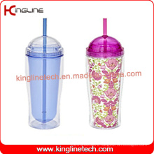 450ml double wall straw cup(KL-SC115)