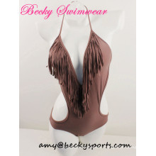 Lady′s One Piece Swimsuit Swimwear Bikini with V Shape and Fringe