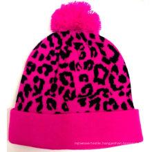 Custom Jacquard Leopard POM POM Beanie Hat