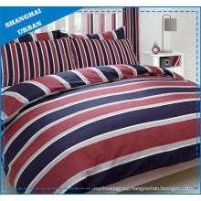 Indigo Red Stripe Polyester Printed Duvet Cover Set