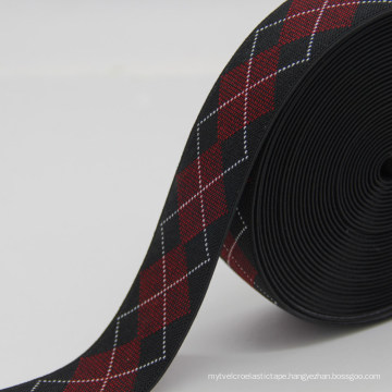 New Design Rhombus Pattern Jacquard Elastic Webbing, Custom Polyester Ribbon for Belt