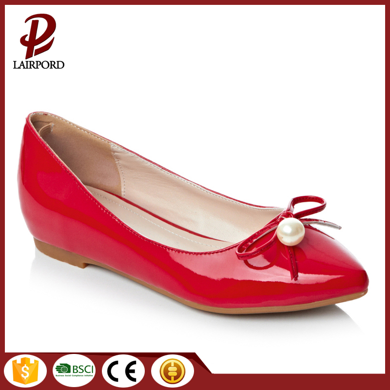 good quality red flat women cute shoes