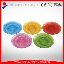 Plato de cristal colorido barato al por mayor de la fruta